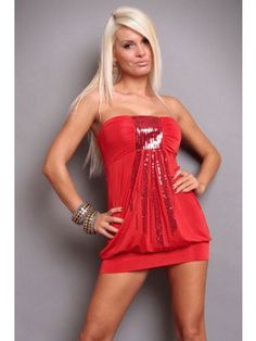 Vivacious Strapless Red Club Dress with Sequins Decoration Club Dresses, Sexy Dresses, Casual Dresses, Formal Dresses, Romantic Dresses, Sleeveless Dresses, Mini Dresses, Party Dresses, Sequin Mini Dress