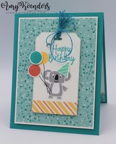 Stampin' Up! Bonanza Buddies Birthday Card for Sunday Stamps – Stamp With Amy K Lifestyles, lifestyles and quality of life … Kids Birthday Cards, Birthday Fun, Birthday Gifts, Scrapbook Cards, Scrapbooking, Hand Stamped Cards, Stamping Up Cards, Animal Cards, Card Tags