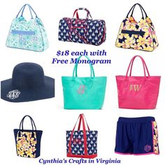 Summer Special @cynthiascraftsinvirginia  All the items listed on the picture are #only$18 each with #freemonogram  #shorts #beachbag #purse #sunhat #coolerbag #dufflebag #sealingbag #sealing #onsale #limitedquantity #cynthiascraftsinvirginia #buyitnow #ordernow