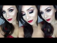 Holiday semi cut crease l Red lips tutorial - YouTube