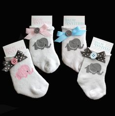 Beautiful Custom Baby Sock Shower Invitation. Your invitees will fall in LOVE with these adorable handmade invitations.