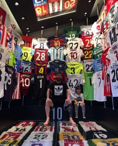 Lionel Messi has built a man cave filled with football shirts. Love the random West Ham shirt Football Messi, Messi Soccer, Football Is Life, Football Shirts, Football Jokes, Leonel Messi, Cr7 Messi, Messi And Ronaldo, Neymar Jr