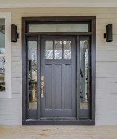 FRONT DOOR DESIGN Craftsman Charm Exterior   Sherwin Williams Black Magic  Door With Polish Brass H
