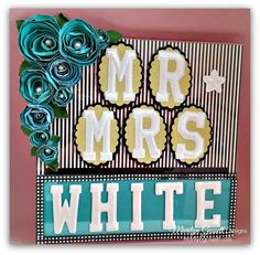 joy embroidered letters wedding table marker