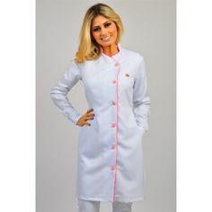Jaleco Feminino Royal White Faixa Pink - Dra. Cherie   Dental Cremer