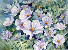 "https://www.facebook.com/MiaFeigelson ""Cosmos and poppy seedheads"" (2011)  By Ann Mortimer, from Nottingham, UK - watercolor - https://www.facebook.com/pages/Ann-Mortimer-Art/267868499166  http://annmortimerart.blogspot.co.uk/"