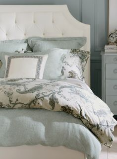 Beautiful cozy room invites sweet dreams! I love the soft color scheme that leads to the rest!