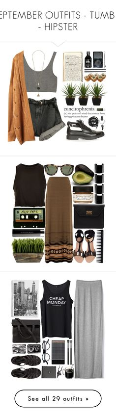 """""""SEPTEMBER OUTFITS - TUMBLR - HIPSTER"""" by noeliabautistaa ❤ liked on Polyvore featuring Monki, Topshop, Alöe, Urbanears, PA Design, Origins, Monsoon, CÉLINE, Michele and Minty Meets Munt"""
