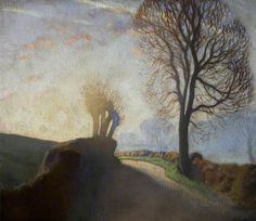 Your Paintings - George Clausen paintings-sunrise on the road