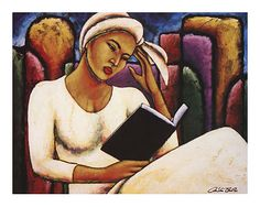"""Deep In Thought."" I've always liked this painting by LaShun Beal. I would love to have this in my study/computer room."