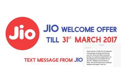 Jio Extended Welcome Offer Till 31st Of March 2017 Now Confirmed! Users started getting Confirmation Messages. https://youtube.com/watch?v=3nP82dz077M