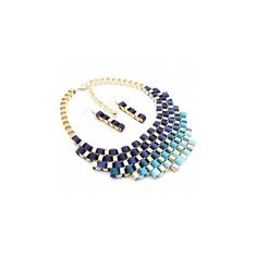 Madiya's Blue Ribbon Wrapped Gold Chain Link Necklace Set - As Seen in... ($50) ❤ liked on Polyvore