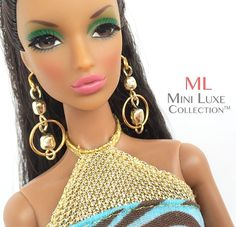 Doll Jewelry for Barbie doll, Poppy Parker, Silkstone Barbie, Fashion Royalty dolls -- miniature jewelry -- gold bead and hoop earrings