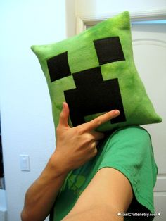 Minecraft Inspired Creeper Pillow by PixelCrafter on Etsy