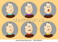 Set people avatars cartoon emotions. Man's facial expression.Vector illustration of a flat design.