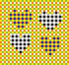 """Subliminal Pulsating Hearts. 'Gingham' checkered textures induce a visual scintillating effect. The four """"hearts"""" appear to hover above the background and to pulsate. © Gianni A. Sarcone, giannisarcone.com"""