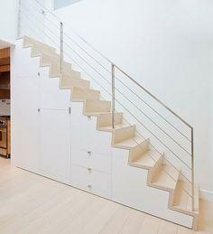 Renovated Tribeca Loft by StudioLab #architecture #stairs Minimalist Bedroom Small, Minimalist Home Decor, Minimalist Interior, Minimalist Living, Staircase Storage, Stair Storage, Staircase Design, Escalier Design, Small Space Interior Design