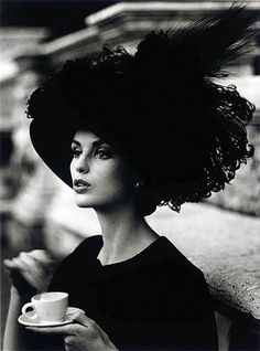 Dorothy, feathered hat and coffee, photo by William Klein, Rome, 1962 It Website, William Klein, Feather Hat, Janis Joplin, Iphone App, Fun At Work, People Photography, Portrait Photography, Black And White Photography