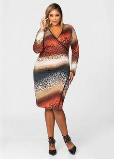 Animal Print Wrap Dress From the Plus Size Fashion Community at www.VintageandCurvy.com