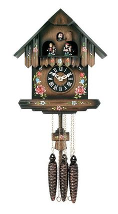 River City Clocks One Day Musical German Cuckoo Clock with Cottage with Painted Flowers