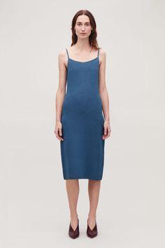 c9c6495c8d600 Model side image of Cos textured metallic slip dress in blue
