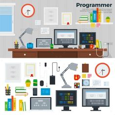 Programmer Workspace with Hardware by mountainbrothers Programmer workspace vector flat illustration. Programmer room interior with digital tools. Software concept. Computers, monitors,
