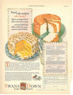 Vintage Swan's Down Cake Flour Advertisement by VintageCoolETC