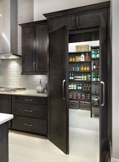 Love this entry to the pantry. A seamless part of the kitchen. LOVE!