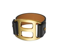"Pagode Hermes leather bracelet (size S) Chamonix calfskin  Gold plated hardware, 6.7"" circumference. Color: black"