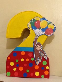 Number Curious George Pinata. Inspired. Curious by aldimyshop