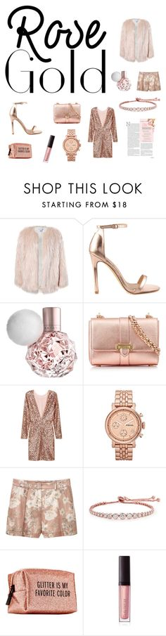 """rose gold style"" by audgeypodge ❤ liked on Polyvore featuring Sans Souci, Liliana, Aspinal of London, FOSSIL, MANGO, CARAT* London, Pinch Provisions and Laura Mercier"