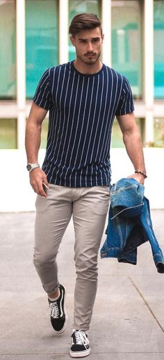How to pull off simple casual outfits mens outfits simple ca Outfits Hombre Casual, Simple Casual Outfits, Casual Mode, Casual Suit, Hipster Outfits, Boho Outfits, Stylish Outfits, Striped Outfits, Casual Outfit For Men