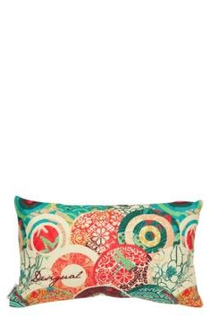 Rectangular Japanese style cotton cushion, made in Spain. It has a Japanese style Galactic pattern, in soft, warm colors. Give your home a Zen and Desigual touch.
