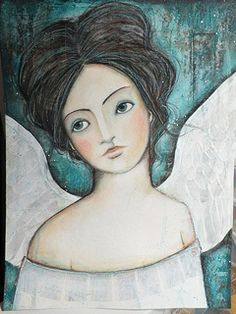 Pennystamper: A Year of Lifebook Spiritual Paintings, Angel Images, Angels Among Us, Angel Art, Christian Art, Book Of Life, Whimsical Art, Medium Art, Face Art