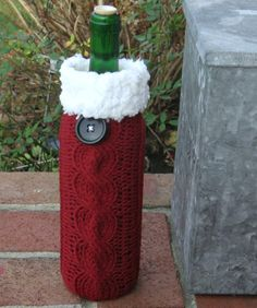 Items similar to Christmas Wine Sock, Bottle Sock, Wine Cozy, Garnet Red on Etsy Wine Bottle Covers, Wine Bottle Art, Wine Bottle Crafts, Filet Crochet, Christmas Wine, Christmas Items, Mason Jar Gifts, How To Purl Knit, Christmas Projects