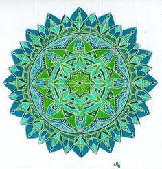 Emerald City mandala ~ artist Jewelfly; Sharpie markers & gel pens  #art #journal #mandala