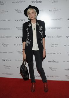 Pin for Later: Aggy's Back! The Style Evolution of Punk Chameleon Agyness Deyn Mixing things up for a slight country look, Aggy wore an embroidered jacket to a screening of Whatever Works in New York in 2009.