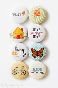 These flair buttons are perfect for all types of paper crafting projects such as Project Life, A Week In Life, card making & scrapbooking. Funny Buttons, Diy Buttons, Metal Buttons, Button Badge, Button Art, Badge Design, Clay Miniatures, Scrapbook Embellishments, Cute Pins
