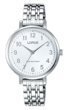 Lorus Dameshorloge Zilverkleurig RG237MX9. Dit horloge is uitgevoerd met een zilverkleurige kast en zilverkleurige band. De witte wijzerplaat is voorzien van duidelijke arabische cijfers. Het horloge is tot 50 meter waterdicht en u heeft twee jaar garantie op het uurwerk.