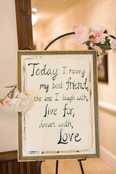 A beautiful sign like this can easily provide a personalized touch to your wedding day, and is a perfect DIY project! #weddingideas #budgetbride #diy