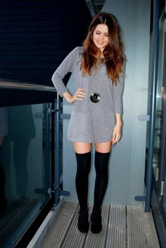 Grey dress and black stockings with black shoes