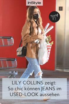 Wie Jeans im Used Look schick und elegant aussehen? Lily Collins macht's mit ihrem genialen Styling in der Farbe Camel vor. #instyle #instylegermany #jeans #usedjeans #rippedjeans #lilycollins #camel
