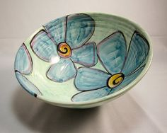 Large Ceramic Kitchen Serving Bowl Blue Vinca Flower Majolica Pottery Clay on Aquamarine Green Handmade click the image for more details. Pottery Clay, Pottery Bowls, Pottery Art, Ceramic Clay, Ceramic Painting, Ceramic Bowls, Pottery Painting Designs, Paint Your Own Pottery, Ceramic Flowers