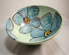 Large Ceramic Kitchen Serving Bowl Blue Vinca Flower Majolica Pottery Clay on Aquamarine Green Handmade
