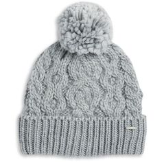 Rella Cable Knit Pom Pom Accented Fleece-Lined Beanie ($48) ❤ liked on Polyvore featuring accessories, hats, heather grey, cable beanie, cable beanie hat, beanie cap, pom pom beanie hat and pompom hat