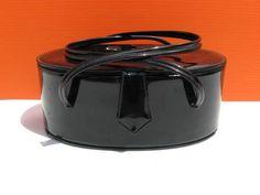 Vintage Black Vinyl Box Purse