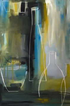 "Saatchi Art Artist Claudia Grutke; Painting, ""three bottles and blue"" #art"