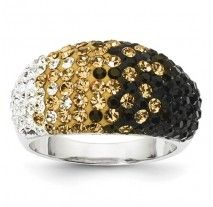 Spirit Collection- Team Colors Black Gold and White Sterling Silver Swarovski Elements Spirit Ring