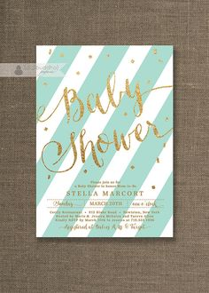 Blue Mint & Gold Baby Shower Invitation Gold Glitter baby boy or gender neutral baby shower invitations by digibuddhaPaperie, $20.00