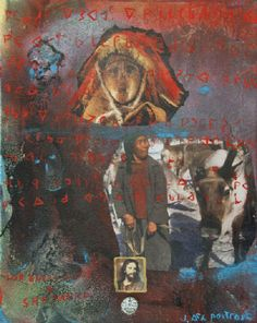 Looking After My Herd Mixed Media on Canvas by Jane Ash Poitras Kunst Der Aborigines, Native American Artists, Indian Artist, Aboriginal Art, Mixed Media Canvas, Photomontage, First Nations, Nativity, Graffiti